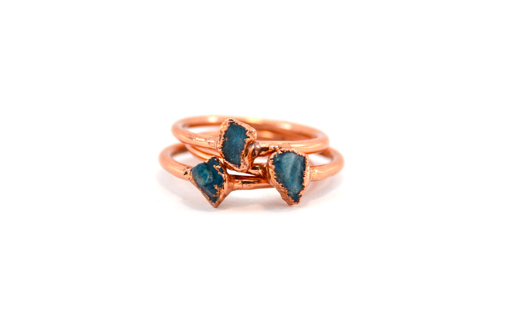 Dainty Raw Blue Apatite Ring | Rough Stone Ring |