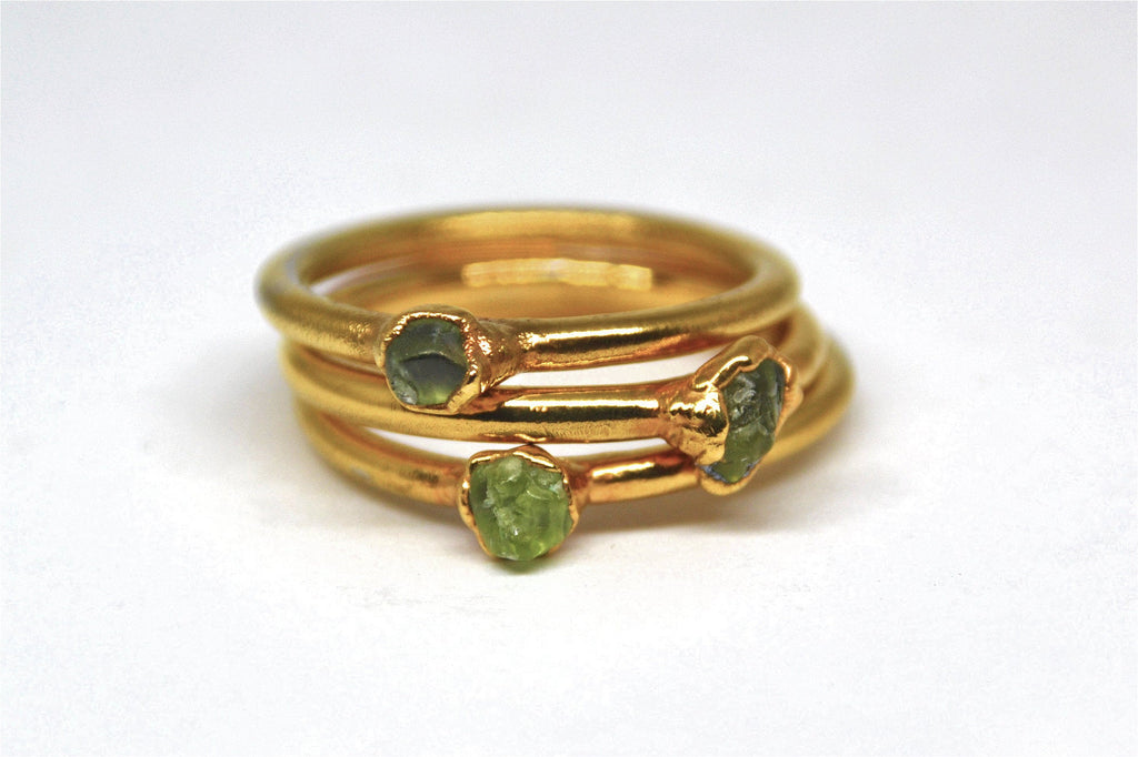 Gold Raw Peridot Ring|  August Ring| Raw Stone Ring |