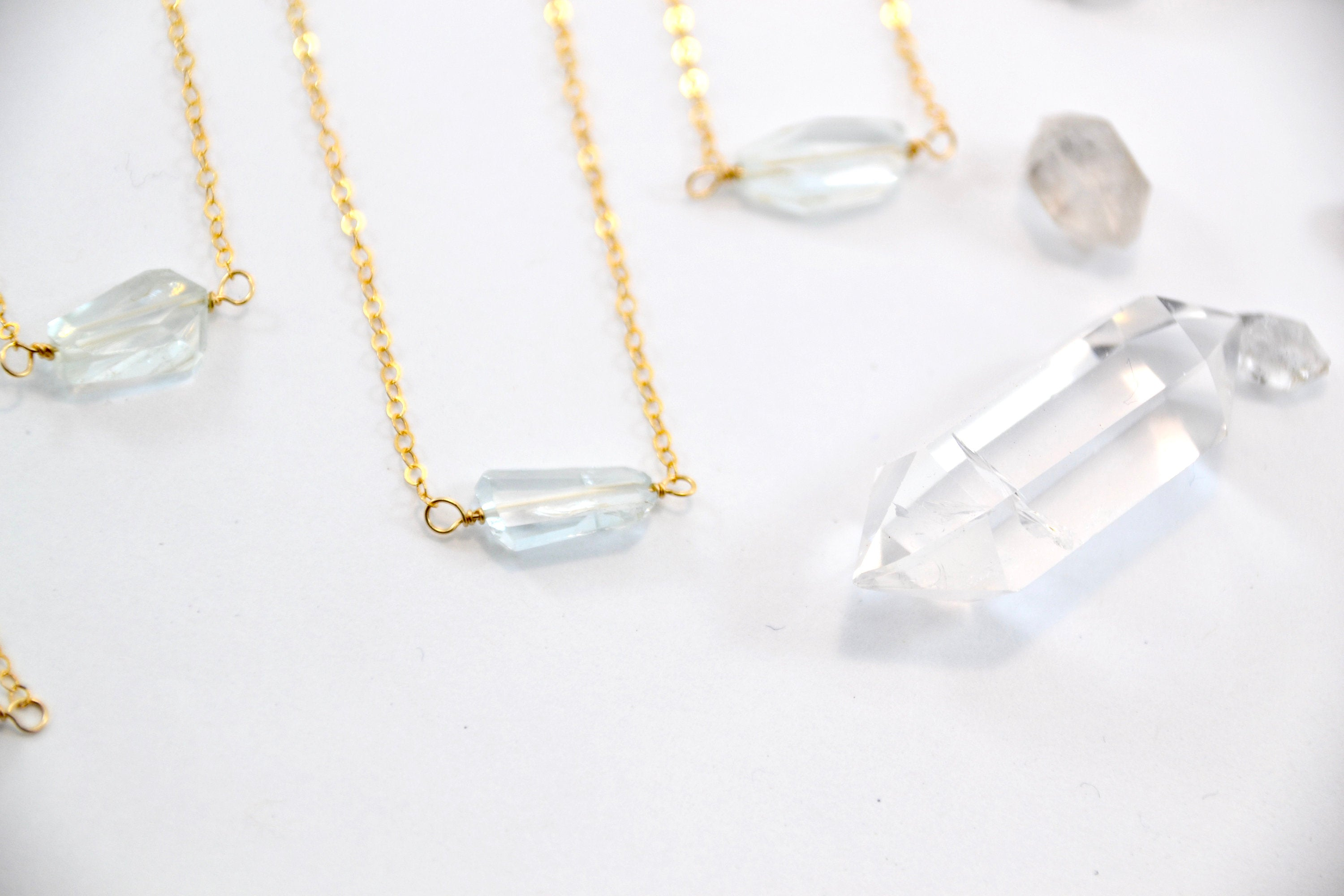 14K GF Dainty Aquamarine Necklace