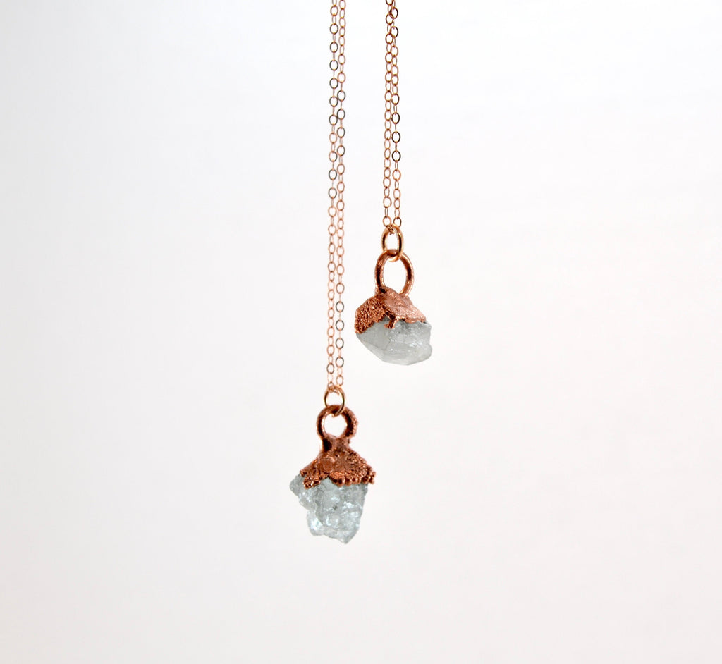 Raw Aquamarine Crystal Necklace | Aquamarine Necklace | March Birthstone