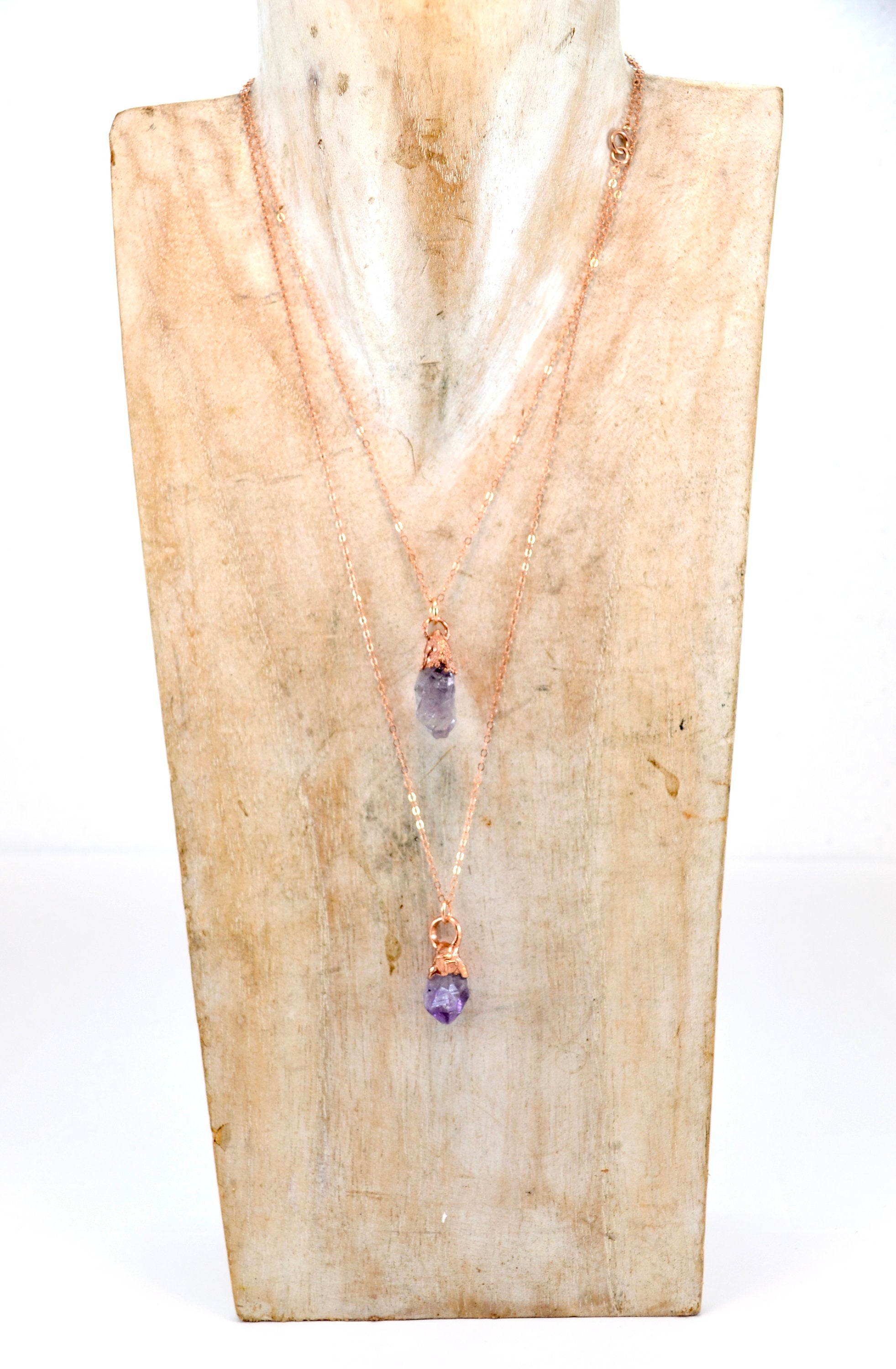 Amethyst Point Copper 14k Rose Gold Necklace