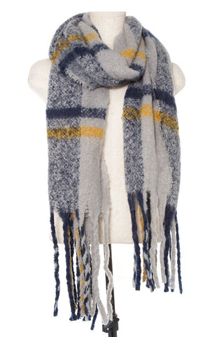 Soft Plaid Pattern Oblong Scarf