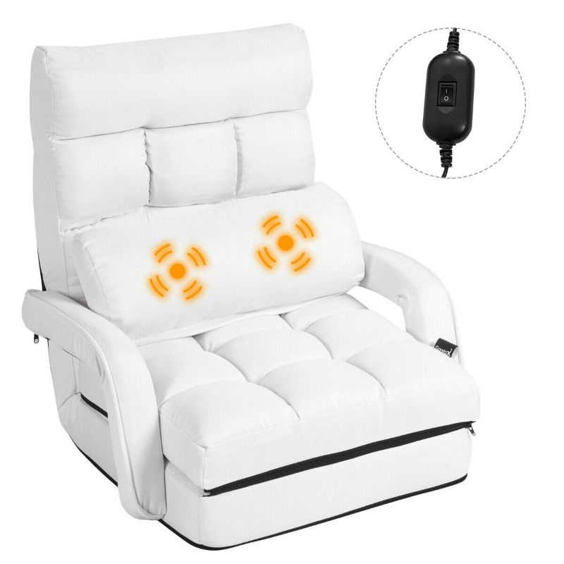 Folding Floor Lazy Chair with Armrests and Massage Pillow