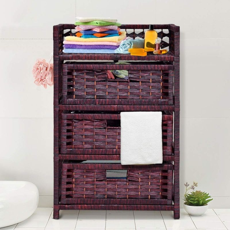 3 Drawer Wicker Basket Storage Chest