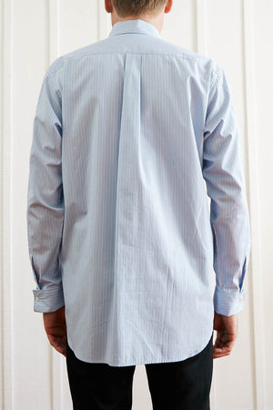 Button Down Fly Shirt -Blue Stipe