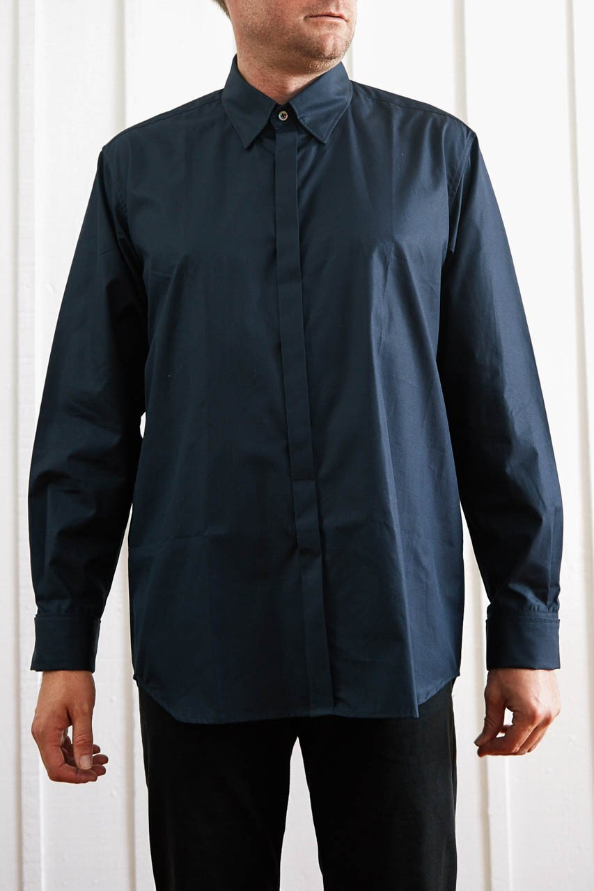Button Down Fly Shirt -Navy