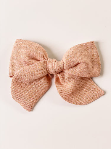 Dusty Shimmer Pink Linen Oversized Elle Bow