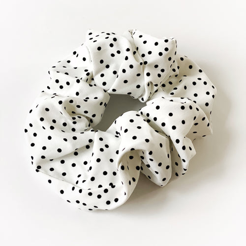 Oversized White & Black Silky Chiffon Scrunchie