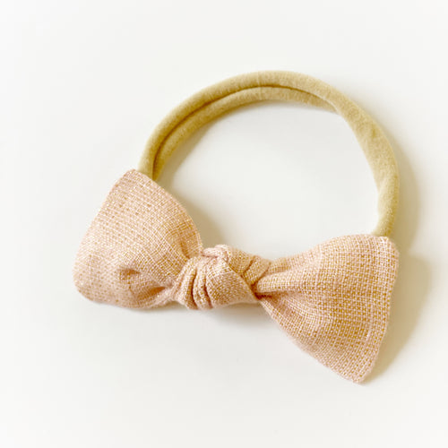 Dusty Shimmer Pink Linen Butterfly Bow