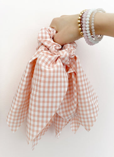 Blush Check Long Tailed Scrunchie