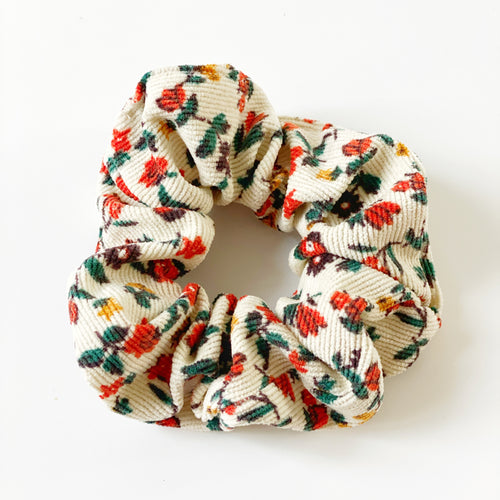 Autumn Floral Corduroy Scrunchie