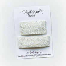 Load image into Gallery viewer, White Chunky Glitter Snap Clip (2 sizes available) ~ The Lovely Little Lady Collection