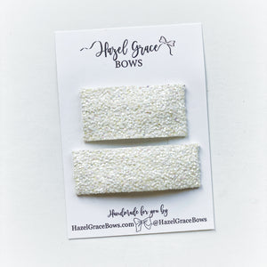 White Chunky Glitter Snap Clip (2 sizes available) ~ The Lovely Little Lady Collection