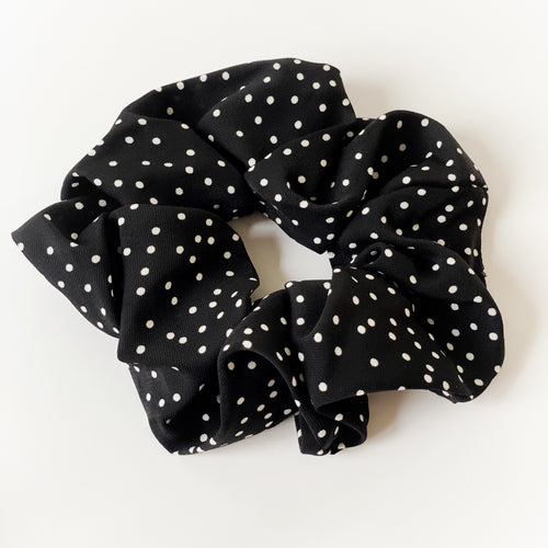 Oversized Black & White Silky Chiffon Scrunchie