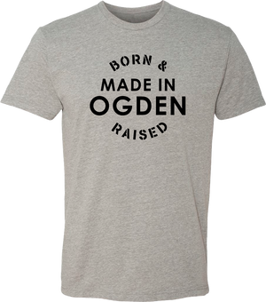 born and raised dark heather grey ogden tees t-shirt tshirt tee shirt short sleeve utah clothing local shop ogdenmade