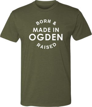 born and raised military green ogden tees t-shirt tshirt tee shirt short sleeve utah clothing local shop ogdenmade