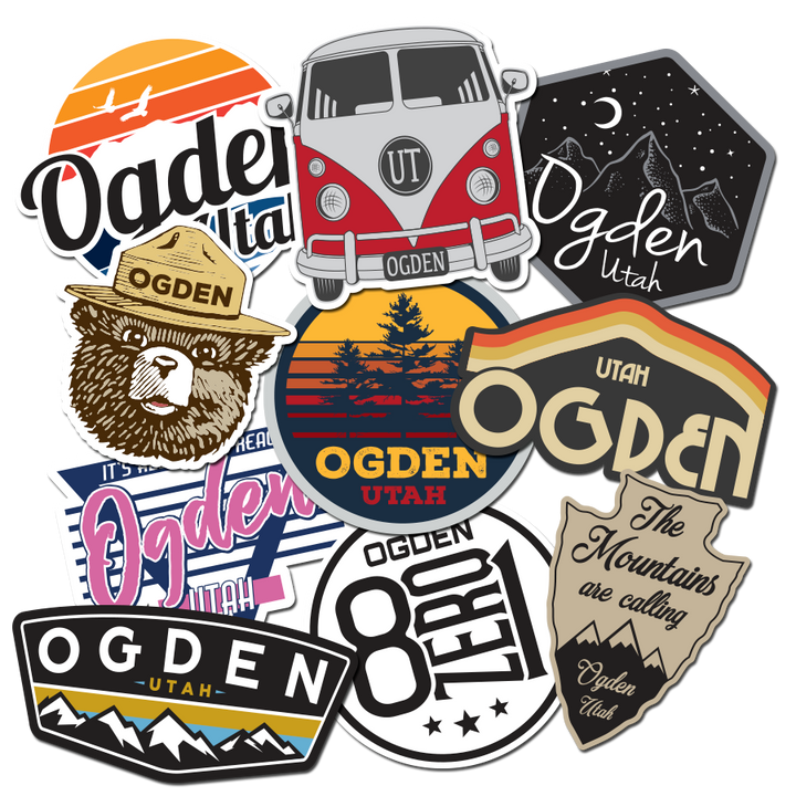 stickers ogden utah decals vinyl smokey vw sunset retro night mountains trees