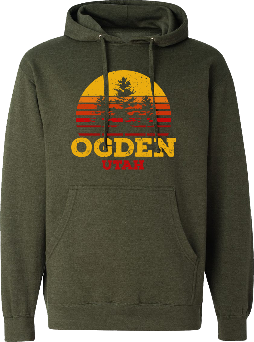 tri tree sunset hoodie army heather ogden hoodies hooded sweatshirts fleece utah clothing local shop ogdenmade