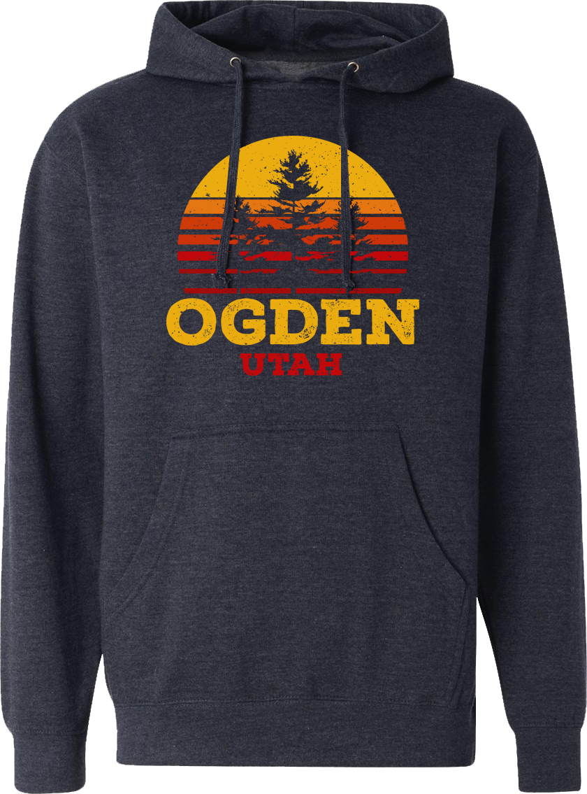 tri tree sunset hoodie navy heather ogden hoodies hooded sweatshirts fleece utah clothing local shop ogdenmade