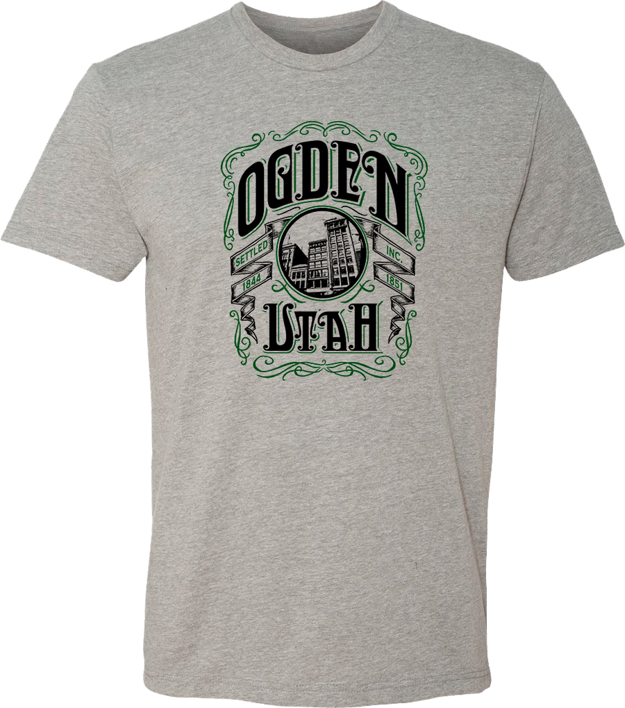whiskey label dark heather gray ogden tees t-shirt tshirt tee shirt short sleeve utah clothing local shop ogdenmade