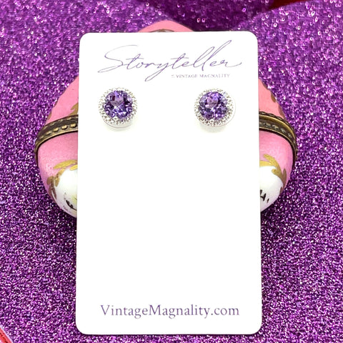 6 MM Amethyst & .01 CTW Diamond Sterling Silver Earrings Storyteller by Vintage Magnality