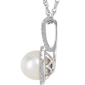 "6.5-7 MM Freshwater Cultured Pearl & .015 CTW Diamond 18"" Sterling Silver Necklace Ethical Sustainable Fine Jewelry Storyteller by Vintage Magnality"