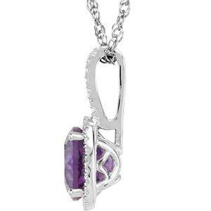 "Amethyst & .015 CTW Diamond 18"" Sterling Silver Necklace Ethical Sustainable Fine Jewelry Storyteller by Vintage Magnality"