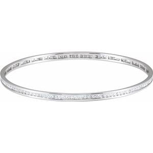 14K White Gold 2.25 CTW Diamond Stackable Bangle 8