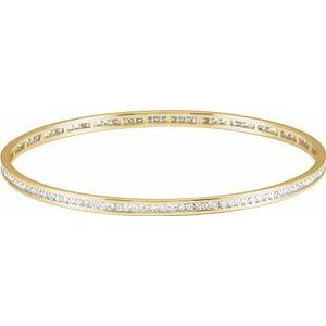 14K Yellow Gold 2.25 CTW Diamond Stackable Bangle 8