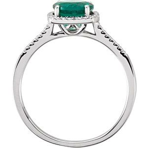 Lab-Grown Emerald & .01 CTW Diamond Ring Sterling Silver Ethical Sustainable Fine Jewelry Storyteller by Vintage Magnality