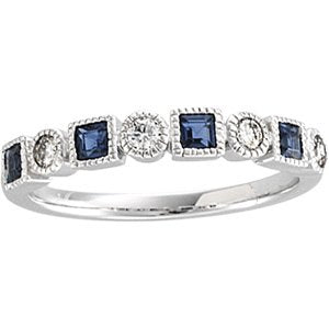 1/5 ctw Diamond & Sapphire Anniversary Bank 14K White Gold Ethical Sustainable Jewelry Storyteller by Vintage Magnality