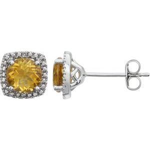 Halo Style Sterling Silver 6mm Citrine & .015 CTW Diamond Earrings Ethical Sustainable Jewelry Storyteller by Vintage Magnality