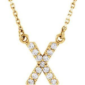 14K Yellow Gold Diamond X Initial 16