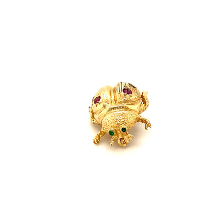BEETLE BROOCH 14K GOLD, RUBY, EMERALD