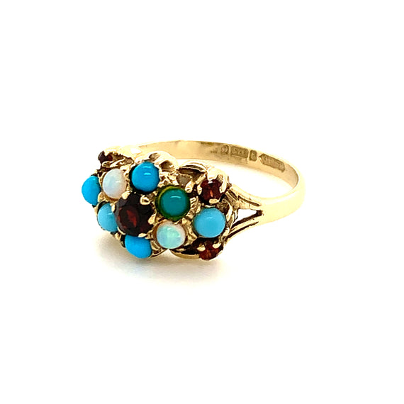 Sustainable Jewelry Vintage Ring Yellow Gold Turquoise Opal Garnet