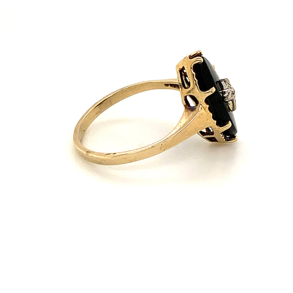 Art Deco Gold Onyx Diamond Star Vintage Estate Fine Sustainable Jewelry Ring Size 6