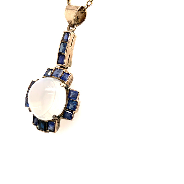 Sustainable Jewelry Victorian Vintage Necklace Moonstone Blue Sapphires