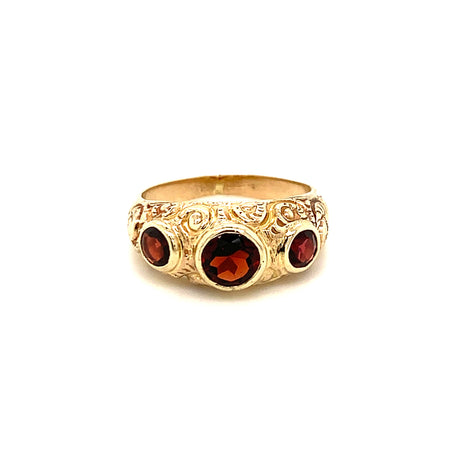 Sustainable Jewelry Vintage Ring Antique Gold Garnet Engraved Detail Bezel Set Stones
