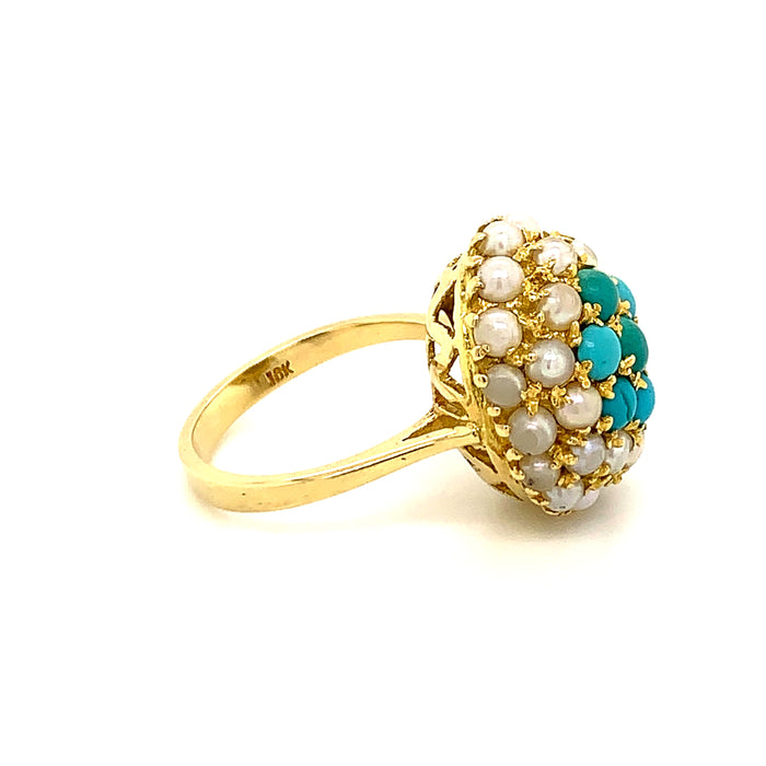 Sustainable Jewelry Vintage Cocktail Ring Size 7 Yellow Gold Cabochon Turquoise Double Halo Cultured Pearls