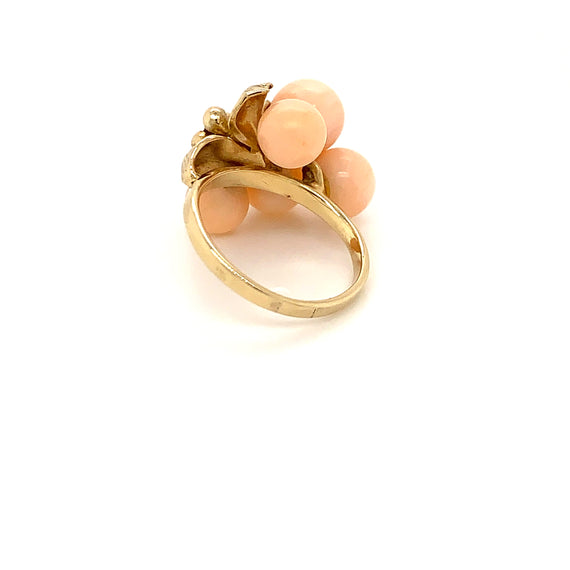 Sustainable Jewelry Vintage Ring Peach Coral Beads Gold Flower Diamond Cocktail Ring