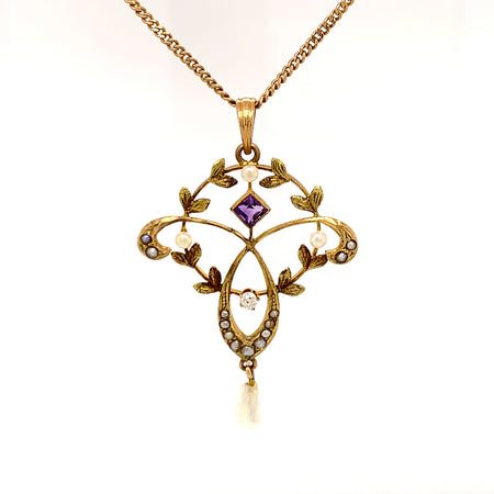 "Sustainable Jewelry One-of-a-Kind Vintage Necklace 10K Yellow Gold Delicate Circular and Trefoil Pendant One Old Mine Cut Diamond Square Cut Amethyst Seventeen Seed Pearls 18.5"" Length"