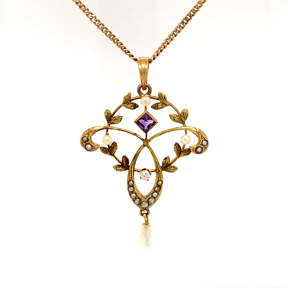 Sustainable Jewelry One-of-a-Kind Vintage Necklace 10K Yellow Gold Delicate Circular and Trefoil Pendant One Old Mine Cut Diamond Square Cut Amethyst Seventeen Seed Pearls 18.5