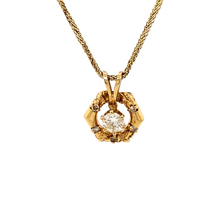 "Sustainable Jewelry Vintage Necklace 14K Yellow Gold 20"" Fancy Link Chain Openwork Hexagon Design Pendant Diamonds One-Of-A-Kind"