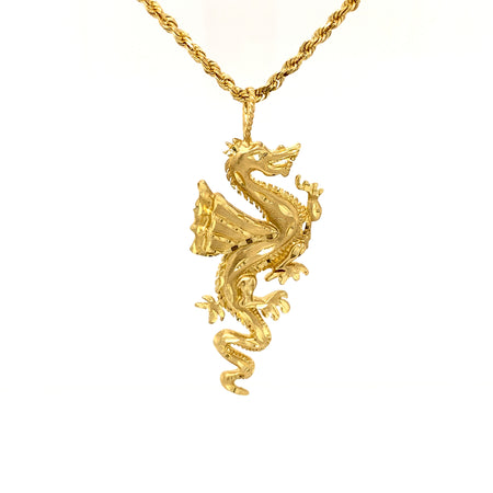 "Sustainable Jewelry Vintage Necklace 14K Yellow Gold Rope Chain Lobster Clasp 22"" Dragon Gold Pendant"
