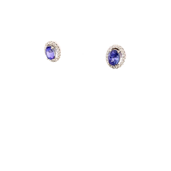 Vintage Earrings White Gold Tanzanite Diamond Halo Sustainable Jewelry