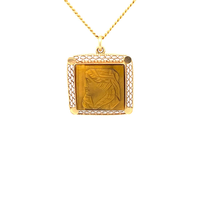 "Sustainable Jewelry Vintage Necklace 14K Yellow Gold Engraved Tiger's Eye Cameo Pendant 18"" Long"