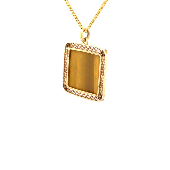 Sustainable Jewelry Vintage Necklace 14K Yellow Gold Engraved Tiger's Eye Cameo Pendant 18