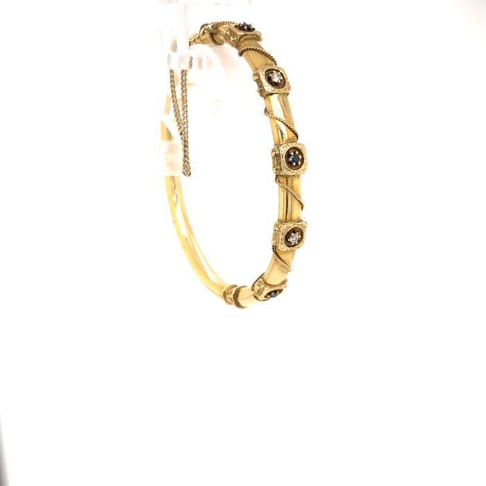 "Sustainable Jewelry Vintage Bracelet Bangle 14K Yellow Gold 6.5"" Hinged Bangle 3 Blue Sapphires 2 Diamonds Geometric Design Twisted Rope Detail One-of-a-kind"