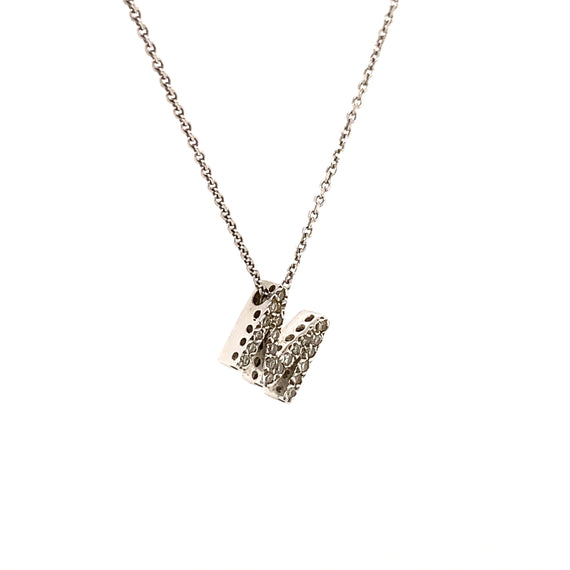 Sustainable Jewelry Vintage Necklace 14K White Gold Tilted M Initial Diamond Encrusted Pendant