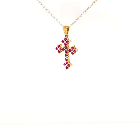 "Sustainable jewelry vintage necklace 10K Yellow Gold 19.5"" Chain Cross Pendant 22 Round Faceted Rubies One Diamond One-Of-A-Kind"